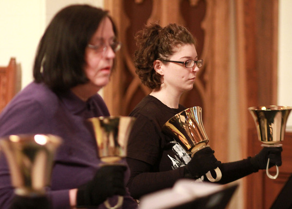 2-19-14<br /> Hand bell practice at Shiloh United Methodist Church<br /> Katie Mohler practices in Shiloh United Methodist's handbell group<br /> KT photo | Kelly Lafferty