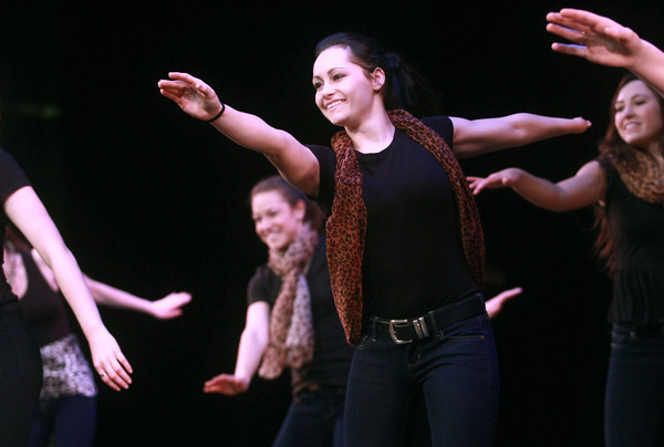 2-12-14<br /> Distinguished Young Women rehearsal<br /> Christine Medin of Elkhart dances during rehearsal for the opening number of the Distinguished Young Women program at IUK.<br /> KT photo | Kelly Lafferty