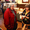 2-22-14<br /> Winter Woolen Workshop<br /> Carolyn Newton talks with Rita Ozment of Bittersweet Baskets at the Elliott House during the Winter Woolen Workshop.<br /> KT photo | Kelly Lafferty