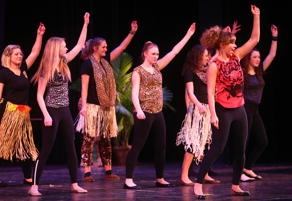 2-15-14<br /> Distinguished Young Women Saturday<br /> Distiguished Young Women participants perform a dance during Saturday evening's program.<br /> KT photo | Kelly Lafferty