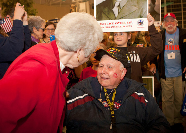 4-5-14<br /> WWII veteran Jack Snyder returns to a surprise celebration from the Honor Flight.<br /> <br /> Kelly Lafferty   Kokomo Tribune