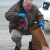 1-3-13<br /> Detective Brent Wines picks up a purple bag of evidence in the parking lot near Regions Bank which was robbed on Thursday afternoon.<br /> KT photo | Kelly Lafferty