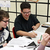 1-22-14<br /> Superbowl Project at Taylor HS<br /> From left: J. Scott Shaffer, Miguel Perez, and Caleb Murdock work on their Superbowl Project together in Jessica Breedlove's class at Taylor High School on Wednesday.<br /> KT photo | Kelly Lafferty