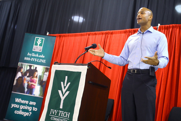 1-23-14   --- Author Wes Moore speaking to a group of kids and others at the Kokomo Event & Conference Center. -- <br />   KT photo | Tim Bath