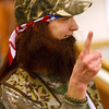 1-3-14   --- Duck Dynasty night at the Kokomo Howard County Public Library. -- Mason Piel dressed as Willie answering trivia questions.<br />   KT photo | Tim Bath