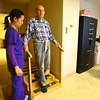 Donald Fisher, 92, going through rehab at St. Joseph Hospital with physical therapist Marilou Dashiell on Monday Jan. 26, 2015. Fisher has had more than one stroke over the last few years but is recovering.<br /> Tim Bath | Kokomo Tribune