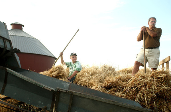 7-10-12<br /> Wheat threshing Howard Co Fair<br /> Kaden Smith (left) and Donny Hill wait in a wagon of wheat during the wheat threshing demonstration at the Howard County fair on Tuesday.<br /> KT photo | Kelly Lafferty