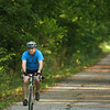 7-7-12<br /> People bike and walk down the Nickel Plate trail<br /> Andy Niese bikes down Nickel Plate Trail  in the morning after he gets off work at Chrysler.<br /> KT photo | Kelly Lafferty
