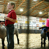 7-10-12<br /> Howard County Fair<br /> Austin Robinson, 8, (left) and Olivia Hobson, 6, stand with their sheep during the Mini 4H portion of the sheep judging at Howard County fair on Tuesday.<br /> KT photo | Kelly Lafferty