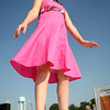 7-10-12<br /> Howard County Fair<br /> Fifth grader Anna Guyer models her pink dress in the 4H fashion show at the Howard County fair on Tuesday.<br /> KT photo | Kelly Lafferty