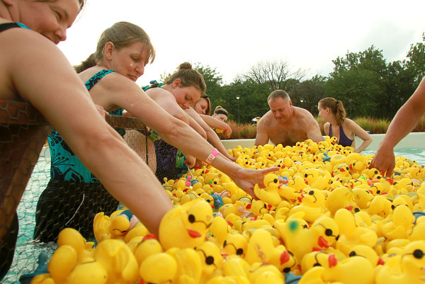 7-19-12<br /> Duck Derby<br /> Volunteers help gather the 2,000 plastic ducks before the start of the Duck Derby race at Kokomo Beach on Thursday night.<br /> KT photo | Kelly Lafferty