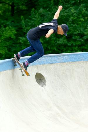 7-29-14<br /> Peru Skate Park at 400 West Canal Street in Peru. Alex Kuepper, 20, on his skateboard at the park.<br /> Tim Bath | Kokomo Tribune