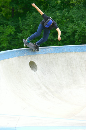7-29-14<br /> Peru Skate Park at 400 West Canal Street in Peru. Alex Kuepper, 20, on his skateboard at the park.<br /> Tim Bath | Kokomo Tribune