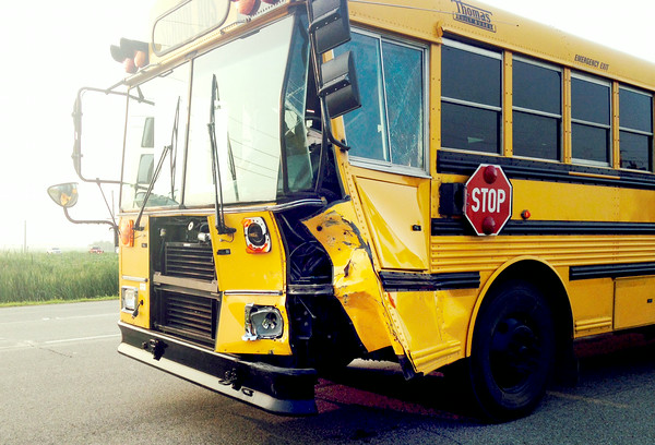 8-1-14<br /> Maconaqua school bus that was involved in an accident at 800 South and US31 in Miami County on Friday morning.<br /> Josh Sigler | Kokomo Tribune