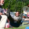 7-4-14<br /> Haynes Apperson Friday<br /> Bill Hanby (right) enjoys one of the rides at the Haynes Apperson Festival on Friday afternoon with Roger McConnell.<br /> Kelly Lafferty | Kokomo Tribune