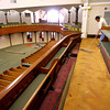 4-29-13<br /> Carpet being replaced at Grace United Methodist Church.<br /> Joseph Thompson, Jr from Church Interiors sweaps up before glueing down the new carpet in the balcony.<br /> KT photo | Tim Bath