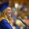 5-31-14<br /> Tri Central graduation<br /> Tri Central's salutatorian, Courtney Zickmund, smiles during her speech at the graduation ceremony.<br /> Kelly Lafferty | Kokomo Tribune