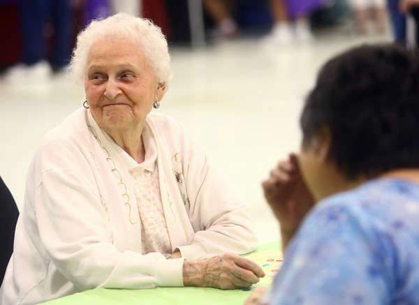 6-26-14<br /> Senior Expo<br /> Grace Brantley smiles after getting a Bingo during a game at the Senior Expo on Thursday morning.<br /> Kelly Lafferty | Kokomo Tribune