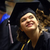 6-6-14<br /> Western Graduation<br /> Wendy Doane smiles up toward the audience from her seat in the gym during Western High School's graduation.<br /> Kelly Lafferty | Kokomo Tribune