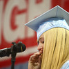 6-7-14<br /> Maconaquah Graduation<br /> Maconaquah valedictorian Courney Sarver tears up during her speech to the graduating class of 2014.<br /> Kelly Lafferty | Kokomo Tribune