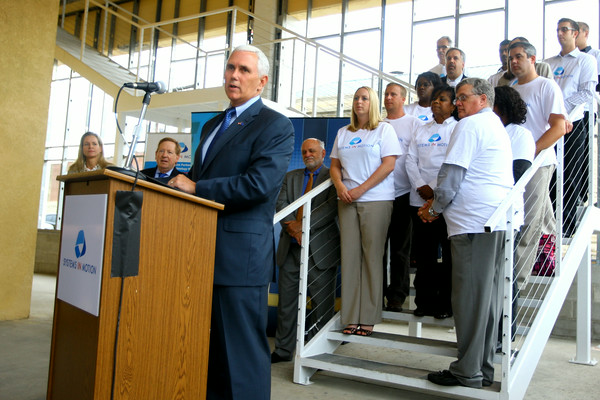6-30-14   --- Gov. Mike Pence was in Kokomo for the announcement of a new high tech company, Systems in Motion LLC, who is expanding operations with about 240 new jobs here. --<br />   Tim Bath | Kokomo Tribune
