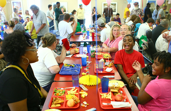 6-18-14<br /> Kokomo Rescue Mission birthday<br /> A crowd fills the cafeteria at lunchtime for the Kokomo Rescue Mission birthday celebration on Wednesday for its residents.<br /> Kelly Lafferty | Kokomo Tribune