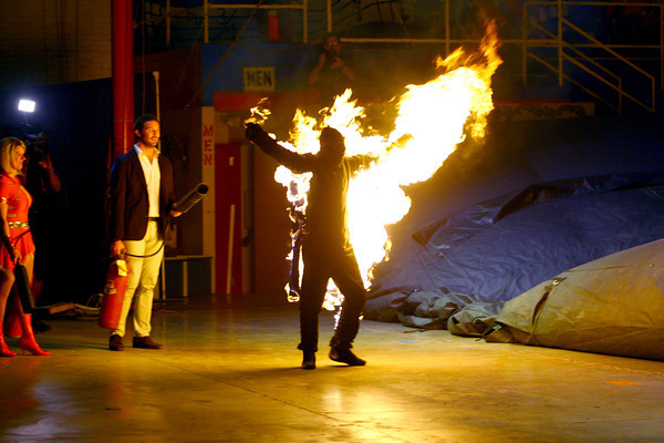 6-14-14   --- The Human Fuse, Brian Miser, is shot over a hundred feet while lit on fire at the Peru Circus Building. --<br />   Tim Bath   Kokomo Tribune