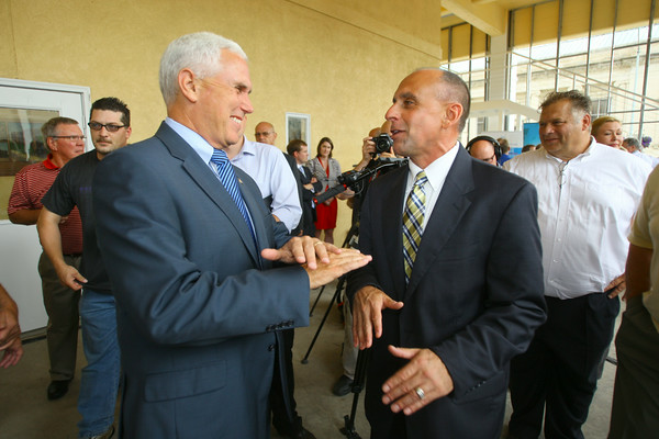 6-30-14   --- Gov. Mike Pence was in Kokomo for the announcement of a new high tech company, Systems in Motion LLC, who is expanding operations with about 240 new jobs here. Gov. Mike Pence and Mayor Greg Goodnight. --<br />   Tim Bath | Kokomo Tribune