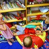 6-3-14   --- At the Greentown library Raylee Lawson, 4, watches her brothers Wyatt Lawson, 7, having his hair pulled by her twin Reid Lawson, 4. They were there for story time. --<br />   Tim Bath | Kokomo Tribune