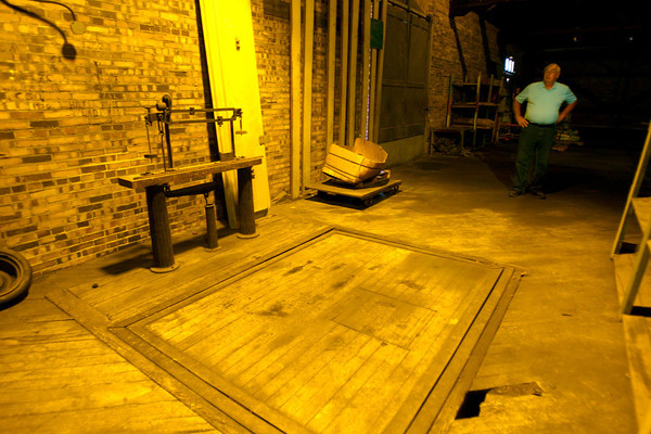 6-11-14   --- Mayor's Night Out held at the train depot on Buckeye Street. Joe Ewing stands near the scales in the shipping and receiving docks.   --<br />   Tim Bath   Kokomo Tribune