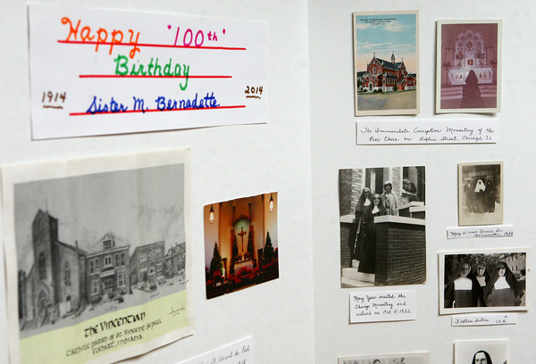 6-27-14<br /> 100-year-old nun<br /> Trifold posters are set up at the Poor Clares Monastery celebrating the history of Sister Bernadette's life. Sister Bernadette is celebrating her 100th birthday.<br /> Kelly Lafferty | Kokomo Tribune