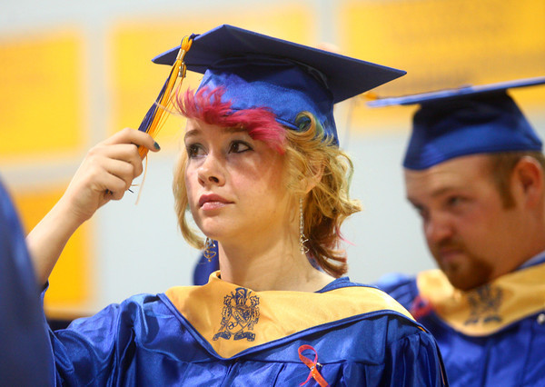 5-31-14<br /> Tri Central graduation<br /> Corissa Hamilton moves her tassel from the left to the right after the Tri Central students receive their diplomas on Saturday.<br /> Kelly Lafferty | Kokomo Tribune