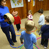 3-4-13<br /> Kaye Jean Swinehart teaches Kindermusik at Highland Park Church. Swinehart will be moving to Michigan. Learning a beat are  Eli Carter, Connor Clouser, Dawson Floyd, Annabella Beadham and Charlie Maurick.<br /> KT photo | Tim Bath