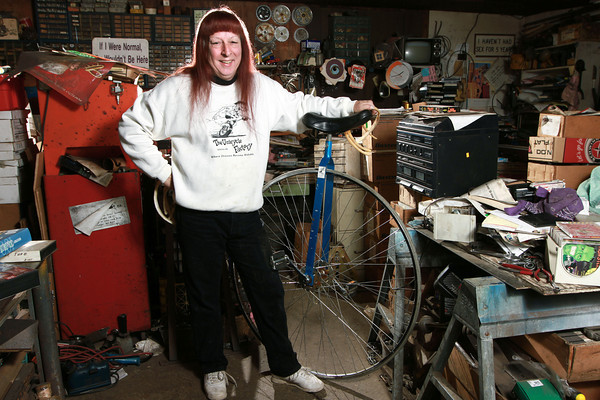 Tom Miller Unicyclist<br /> Tom Miller has been building unicycles for more than thirty years out of his workshop behind his house in Kokomo.<br /> KT photo | Kelly Lafferty