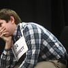 3-18-14<br /> Spelling Bee<br /> Garrett Rogers of Peru Junior High School reacts after he misspells a word landing him in second place during Tuesday night's Spelling Bee.<br /> KT photo | Kelly Lafferty
