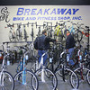 3-2-14   --- Breakaway Bike shop in Peru with owners Zac and Shannon See.  Longtime customers Jim Yates and Ed Kays look at and talk about some of the bikes. -- <br />   KT photo | Tim Bath
