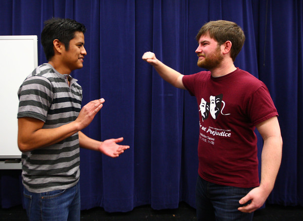 3-25-14<br /> Stage Combat at IUK<br /> Art Cardenas prepares for Nick Carley's punch during stage combat at IUK.<br /> KT photo | Kelly Lafferty