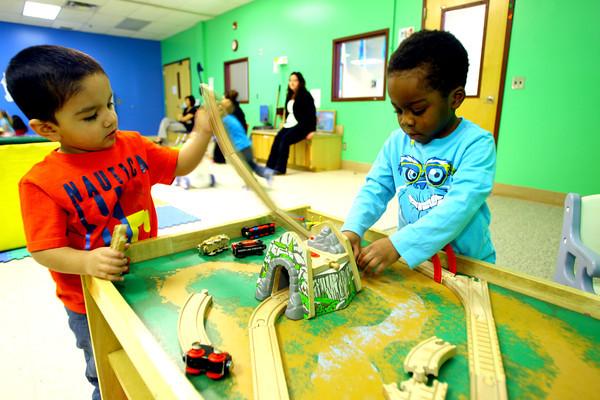 3-4-14   --- Bona Vista Daycare. Julian Aviles and Ezekiel Johnson playing together at the train table.  -- <br />   KT photo | Tim Bath
