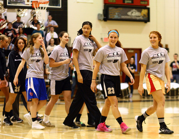 3-6-14<br /> The Lady Panthers walk out onto the gym during the pep rally send off to the state championship game.<br /> KT photo   Kelly Lafferty