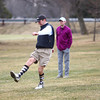 3-21-14<br /> Footgolf at Tipton Municipal Golf Course<br /> Rusty Ripberger makes his first kick of the soccer ball at Tipton Municipal Golf Course as Jacob Higbee and Keegan Gray watch and await their turn at footgolf.<br /> KT photo | Kelly Lafferty