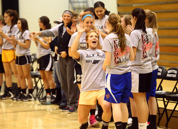 3-6-14<br /> Carley and Caitlyn O'Neal have fun with the rest of the Lady Panther team on Thursday at the pep rally as they prepare for the state championship game.<br /> KT photo | Kelly Lafferty