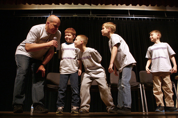 3-27-14<br /> Anti-bullying speaker at Northwestern Elementary<br /> Evan Kearney, Aydan Ridener, Xavour Worthington, and Ethan Dale participate in a skit during Keith Detano's anti-bullying presentation at Northwestern Elementary School.<br /> KT photo   Kelly Lafferty