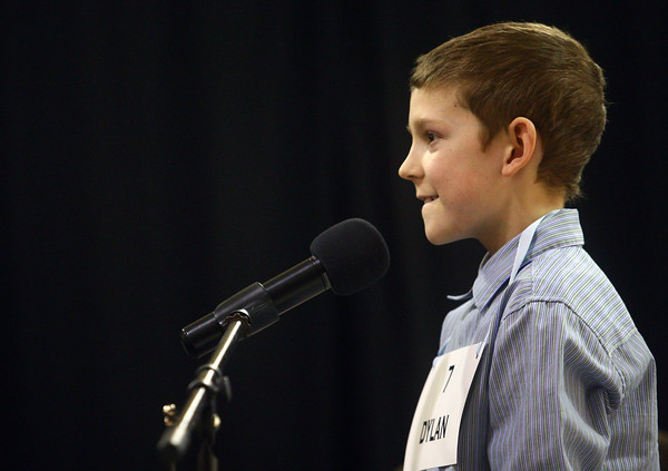 3-18-14<br /> Spelling Bee<br /> Dylan Collins of Western Intermediate School reacts after he is given a word he knows how to spell during Tuesday night's Spelling Bee.<br /> KT photo | Kelly Lafferty