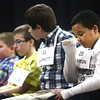 3-18-14<br /> Spelling Bee<br /> Darrion Shack of Elwood Haynes Elementary School wipes tears from his eyes after he misspells a word during Tuesday's Spelling Bee.<br /> KT photo | Kelly Lafferty