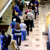 11-5-12<br /> People line up a little before noon in the Howard County Courthouse to early vote on Monday. Hundreds lined up in the lobby for early voting.<br /> KT photo | Tim Bath