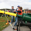 11-10-12<br /> Punkin Chunkin and TechKnow Fest<br /> Leslie Rhinebarger pulls the lever to launch a pumpkin out of a cannon during Punkin Chunkin on Saturday morning at Ivy Tech.<br /> KT photo | Kelly Lafferty