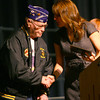 11-11-13  --  Veterans program at Northwestern HS gave honor to veterans including Lester Creason, a Korean Vet and Northwestern Graduate, who presented a plaque to be placed by the flagpole.<br />   KT photo | Tim Bath