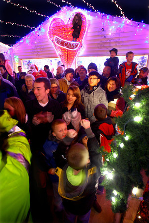 11-28-13  --  We Care Park Christmas lights opening night. Kids cheer after the lights are lit a 6 p.m.<br />   KT photo | Tim Bath