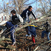 11-18-13<br /> Miami County storm damage<br /> Kids at Maple Lawn Village in Miami County work to break off branches on a fallen tree.<br /> KT photo | Kelly Lafferty