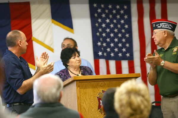 11-8-13  --  Veterans Stand Down event at the VFW post. Judy Dennis, Director of Family Services Association, who was presented with the Community Service Award. She got a standing ovation including the Mayor Greg Goodnight and Ken Fisher, Commander of the VFW Post 1152.<br />   KT photo   Tim Bath